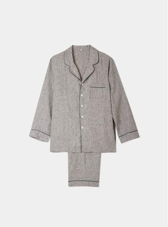Grey Linen Pyjama Trouser Set