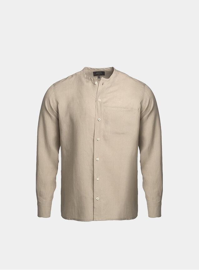 Natural Collarless Linen Shirt