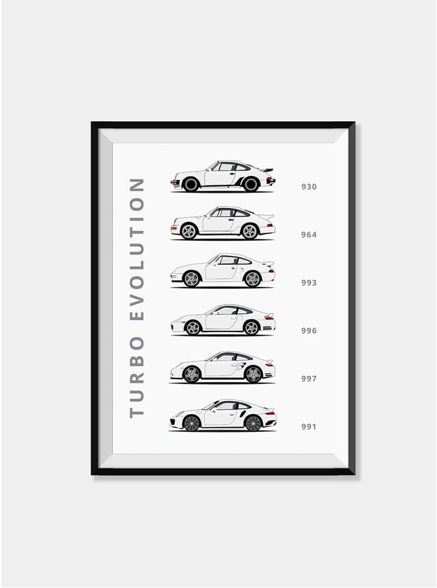 White Porsche 911 Turbo Car Print