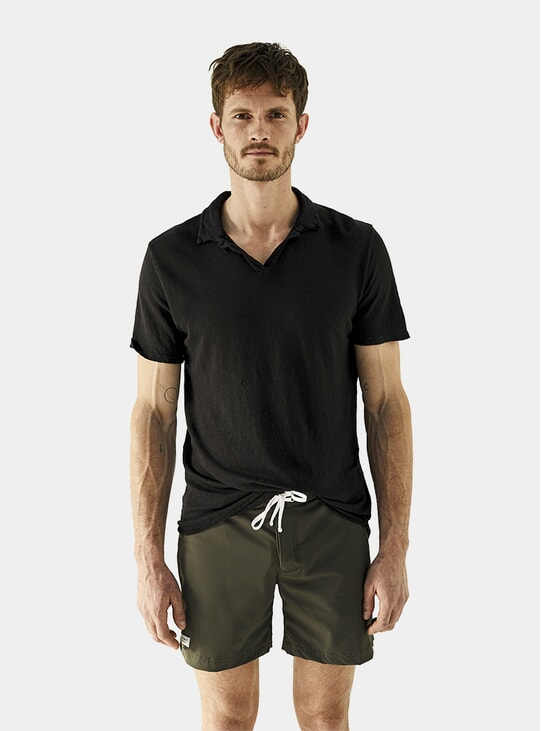 Carbon Relaxed Fit Linen Polo