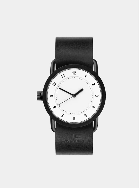 White / Black Leather No.1 36mm Watch