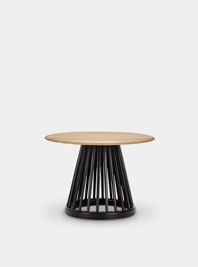 Black Oak / Natural Oak Fan Table