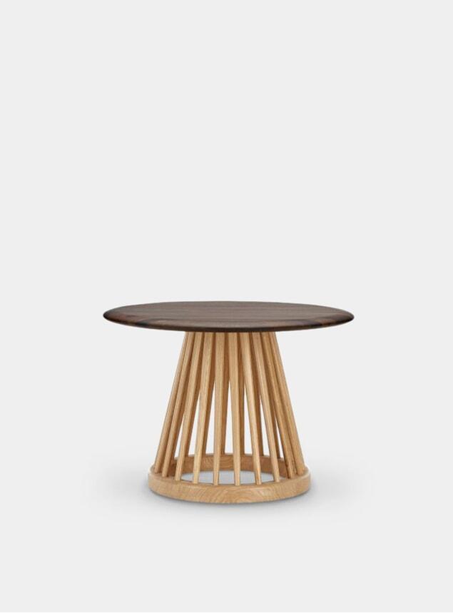 Fumed Oak / Natural Fan Table