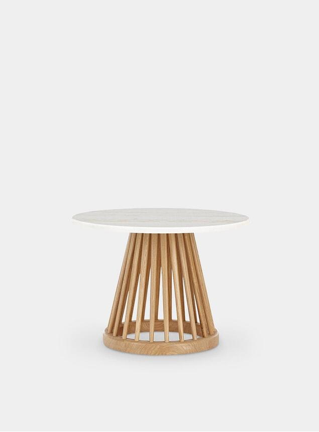 White Marble / Natural Oak Fan Table