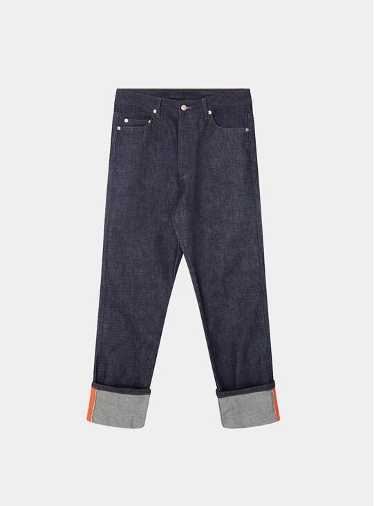 Raw Blue / Orange Grosgrain Denim Jeans