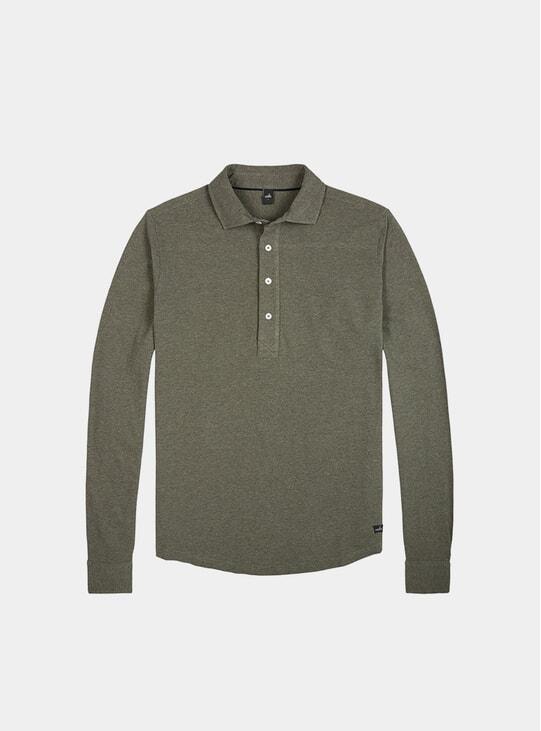 Army Green LS Pique Poloshirt