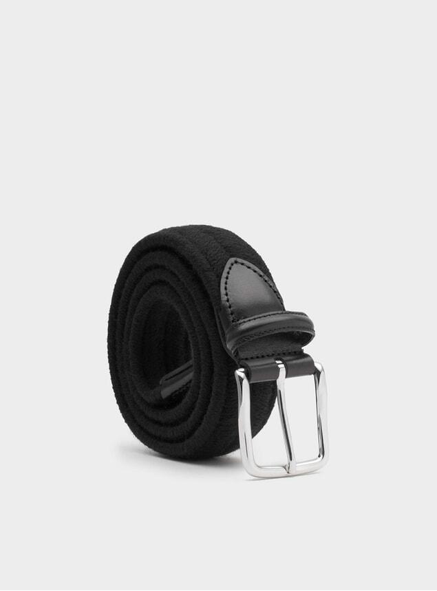 Black Elastic Wool Giorgio Belt