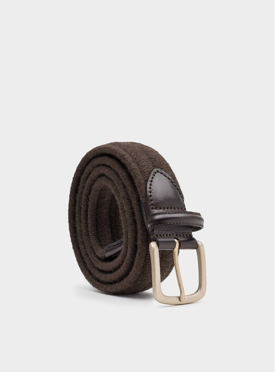 Brown Elastic Wool Rodolfo Belt