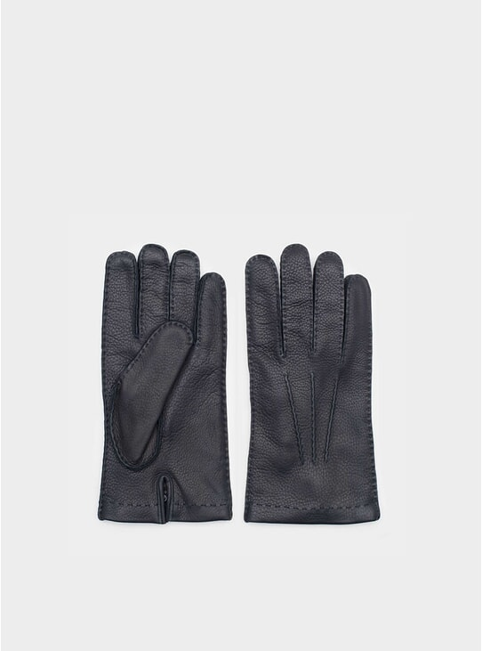 Emanuele Navy Deer Leather Gloves