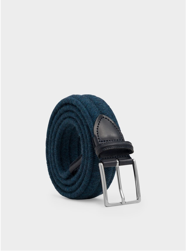 Navy Elasticated Wool Fabrizio Belt