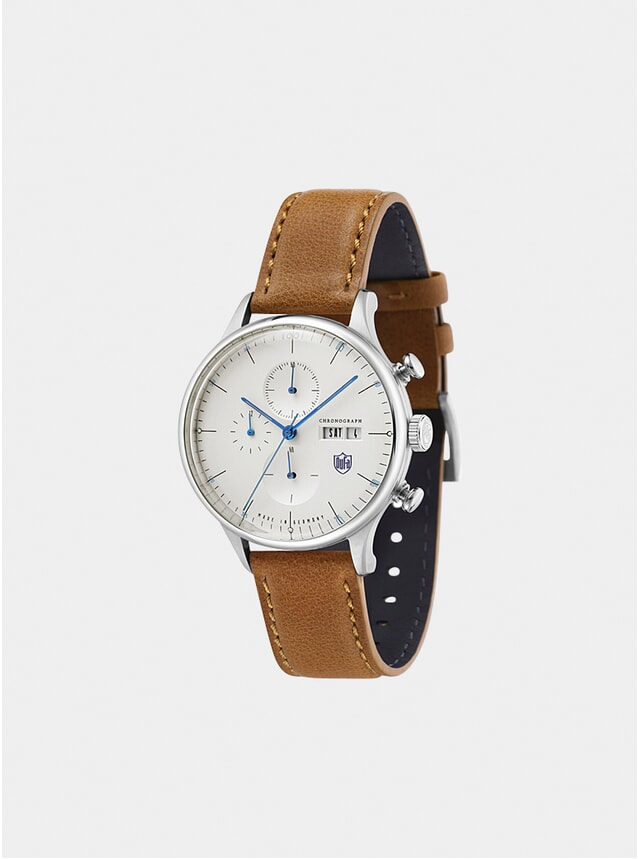 Stainless Steel / Brown Chronograph Watch