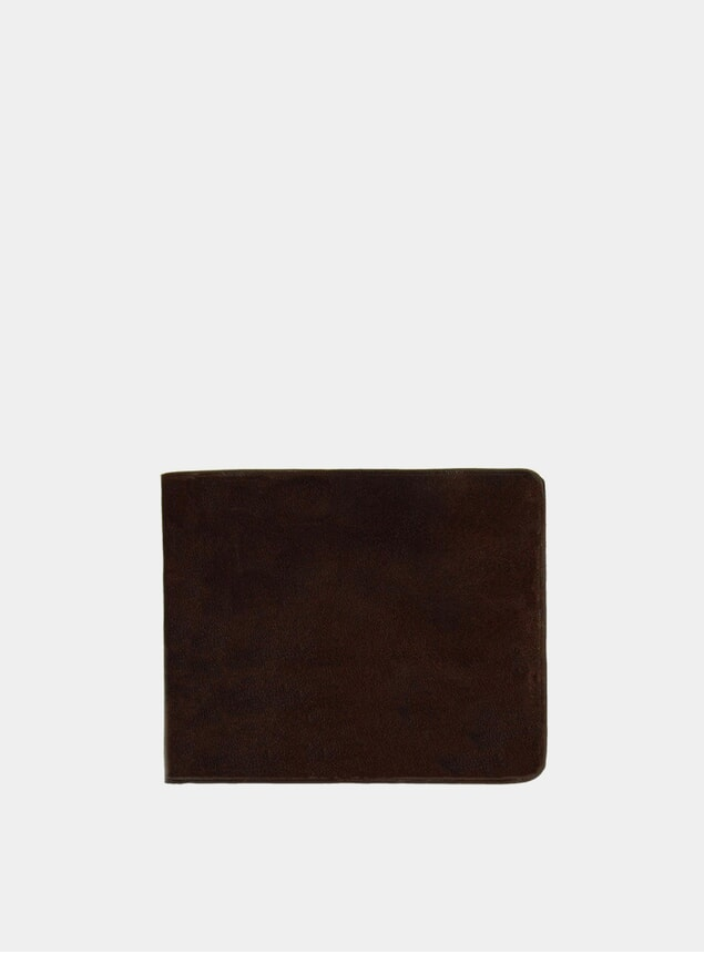 Dark Brown / Natural Leather Billfold Wallet