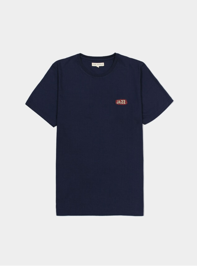 Blue Embroidered Jazz T Shirt