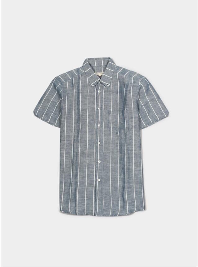 Blue Stripe Mod Button Down SS Shirt