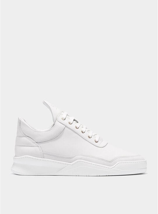 White Low Top Ghost Matt Sneakers