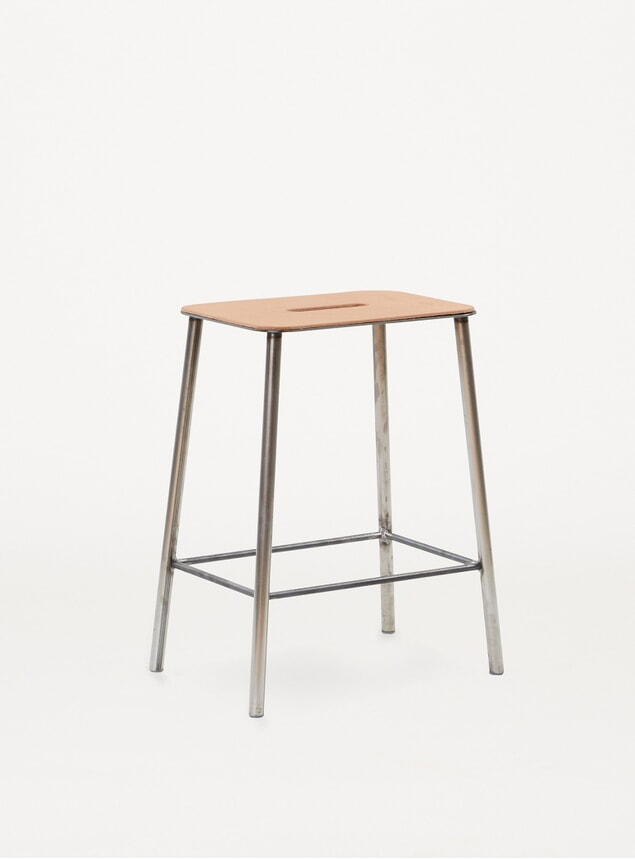 Leather / Raw Steel H50 Adam Stool