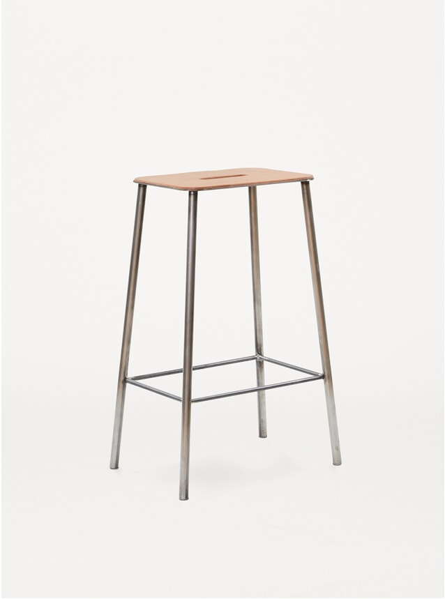 Leather / Raw Steel H65 Adam Stool