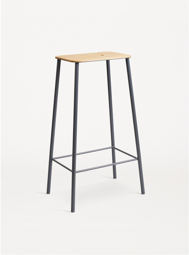 Oak /Grey Steel H76 Adam Stool