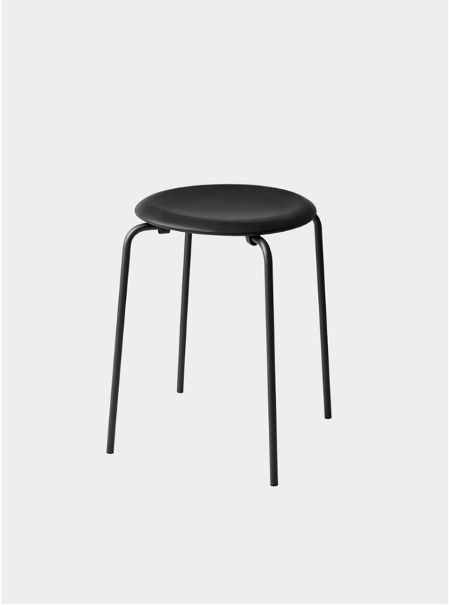Black Intense Leather Dot Stool