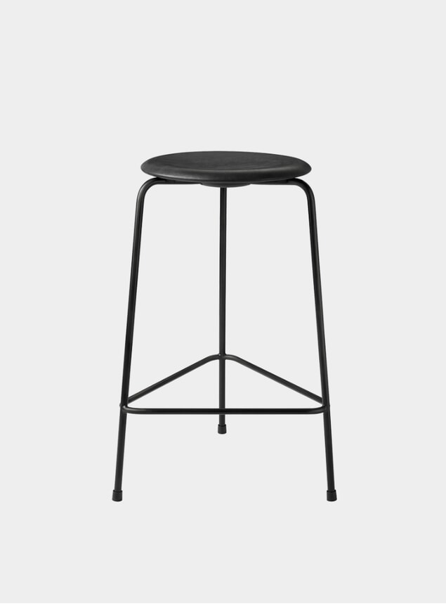 Black Intense Leather High Dot Stool