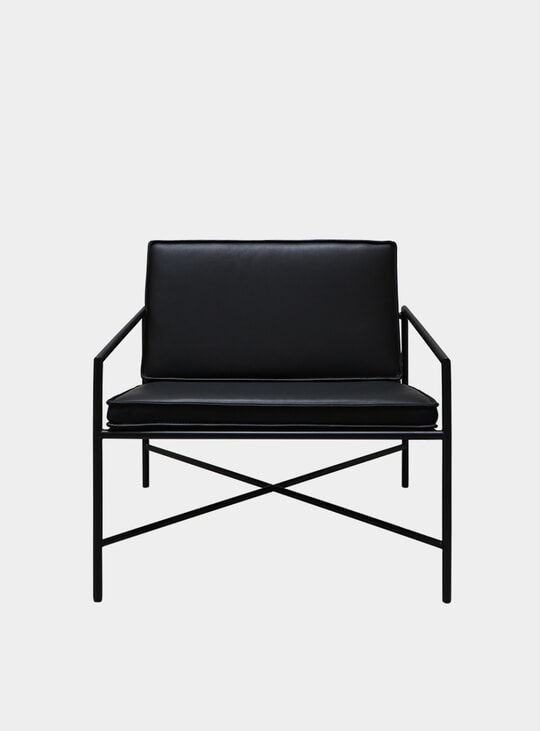 Black / Black Aniline Leather Lounge Chair