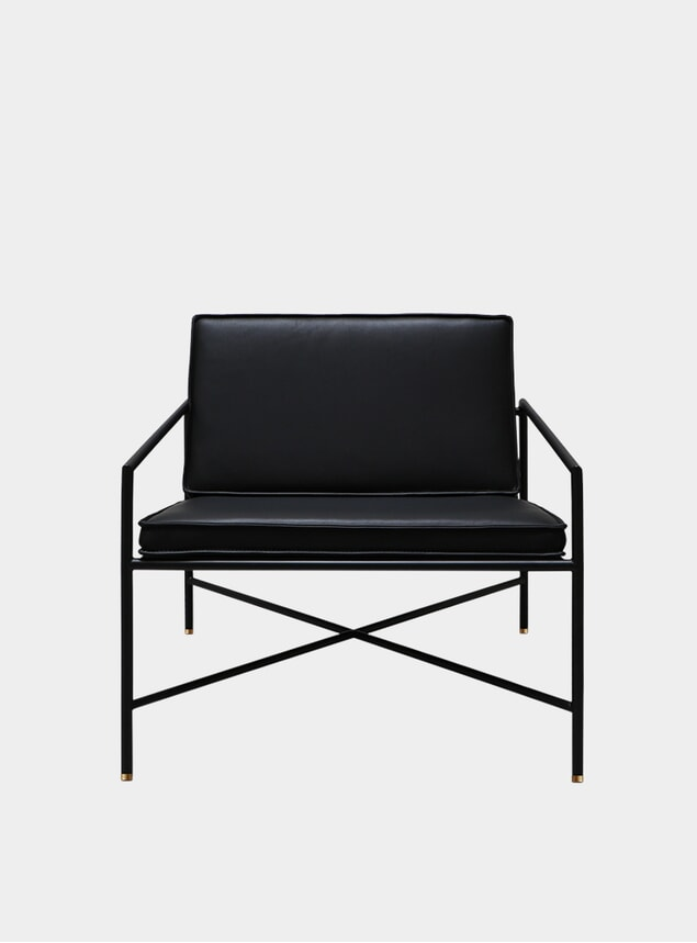 Black / Brass Aniline Leather Lounge Chair