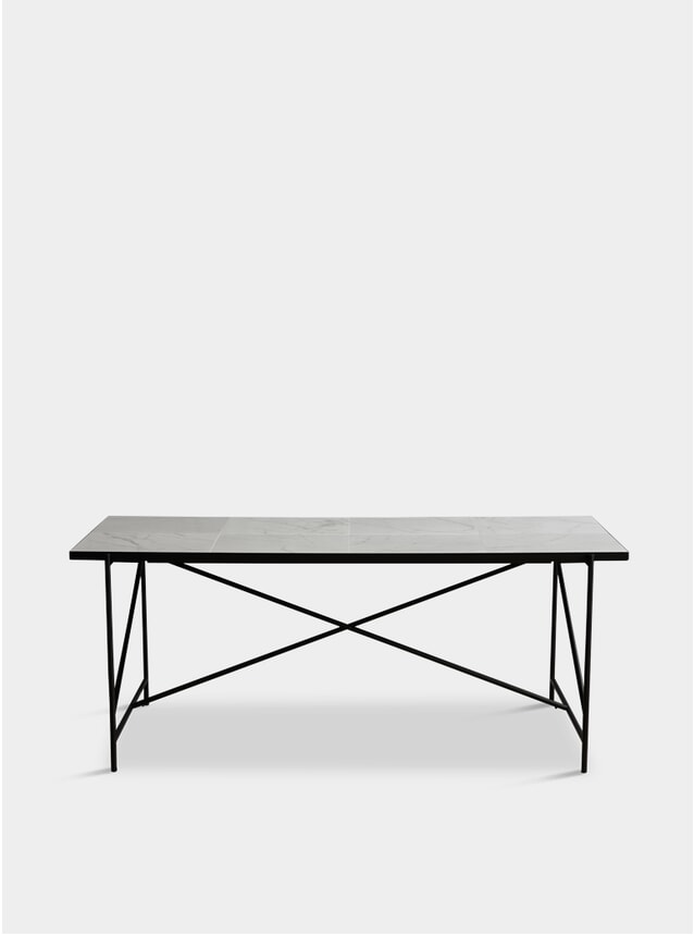Black / White 185 Dining Table