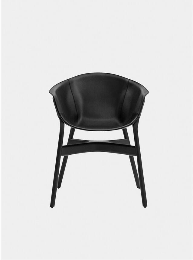 Black Oak / Leather Pocket Armchair
