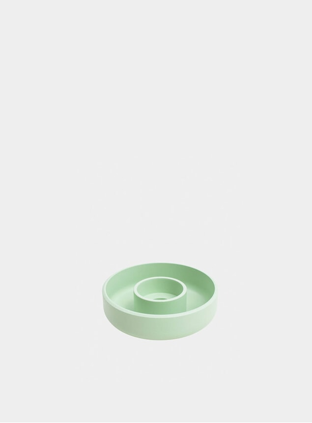 Pastel Green Punched Metal Candle Holder