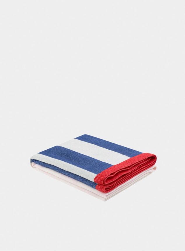 Pink / Blue Stripe Throw