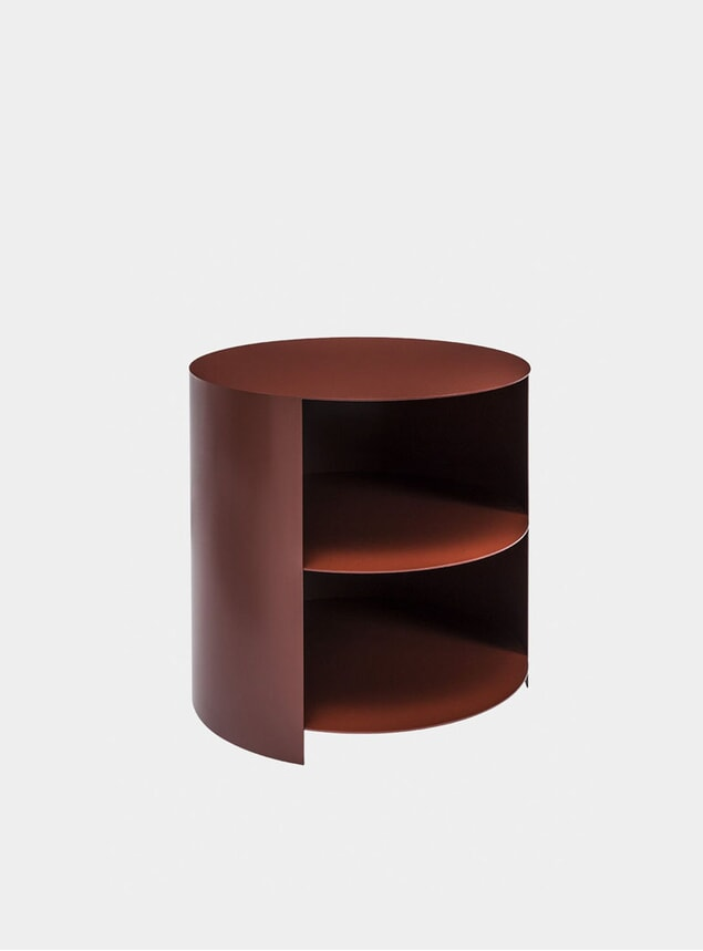 Rust Red Hide Side Table