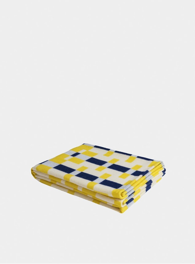 Yellow / Blue Square Throw