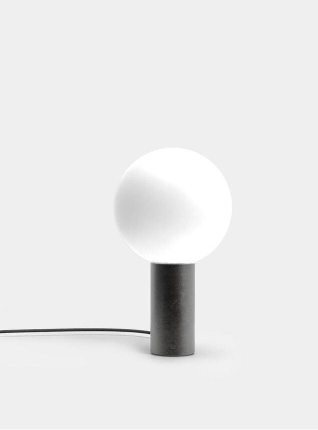 Blackened Steel Orb L Table Lamp