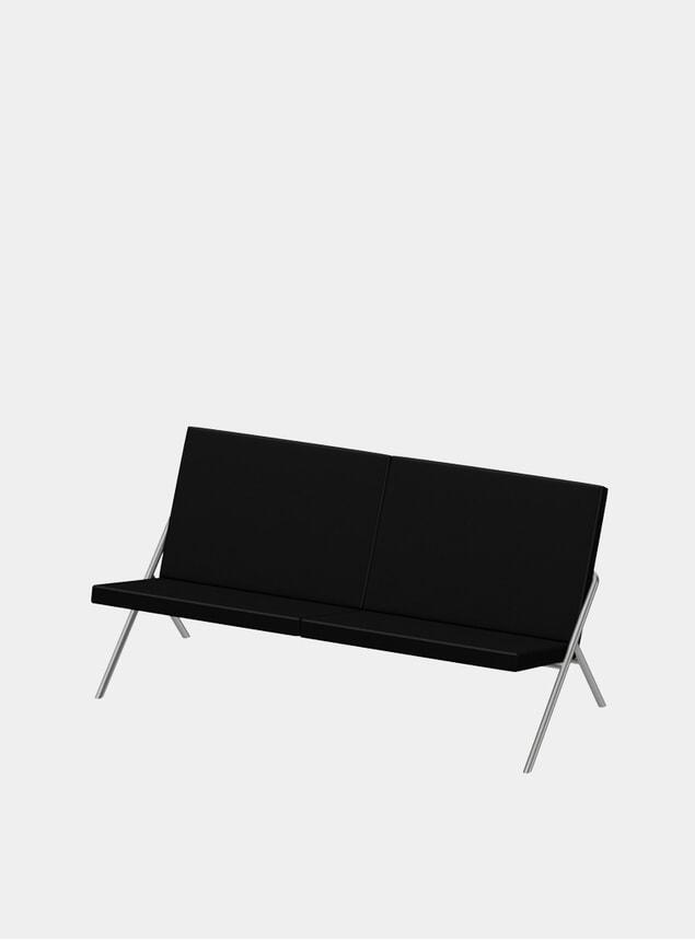 Jet Black Nappa / Steel DL2 Euclides Two Seater Sofa