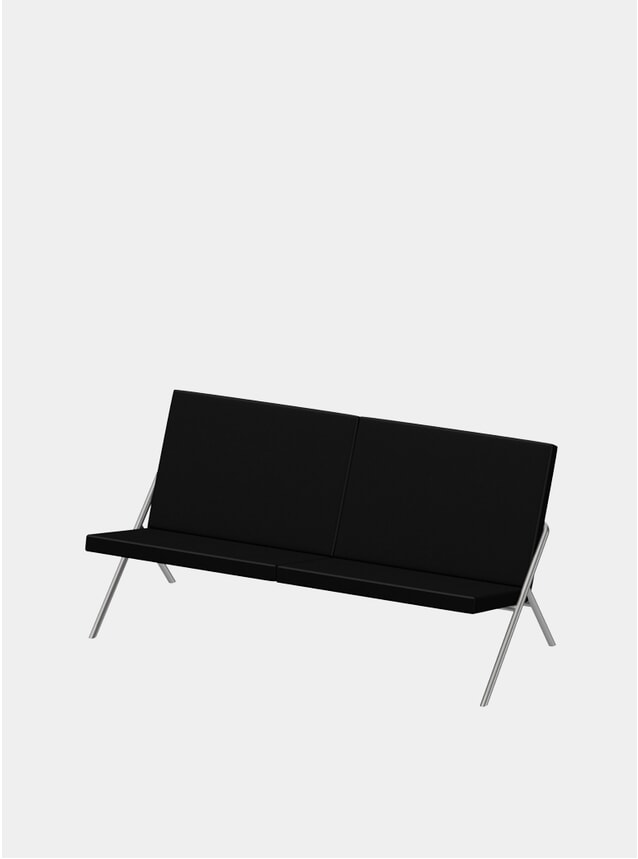 Jet Black Nappa / Steel DL2 Euclides Two Seater Sofa