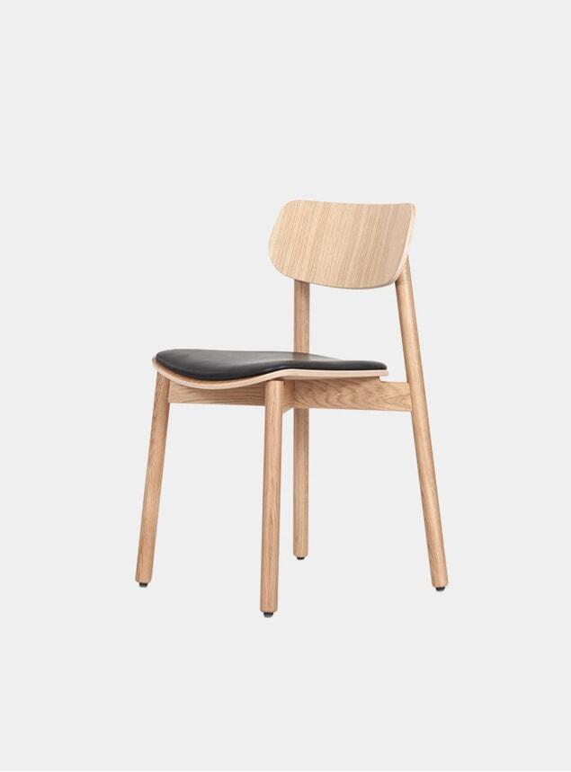 Oak / Black Leather Upholstered Otis Dining Chair