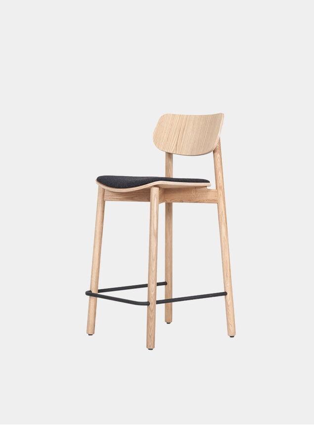Oak / Black Wool Uplhostered Otis Bar Stool
