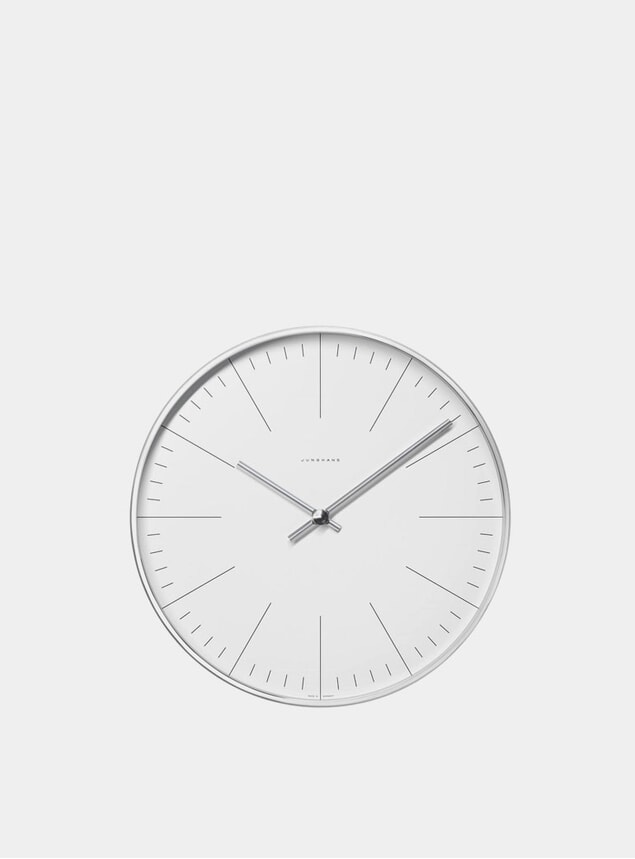 White / Stainless Steel Max Bill 6046 Quartz Wall Clock