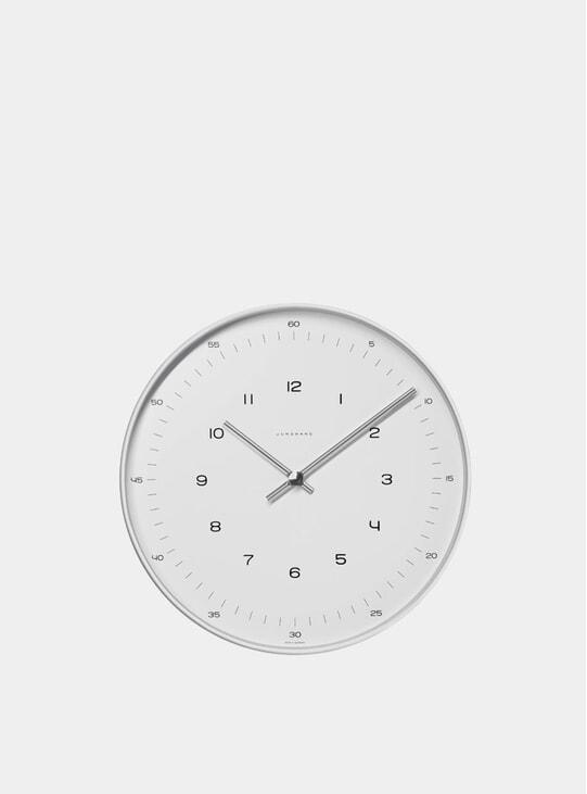 White / Stainless Steel Max Bill 6047 Quartz Wall Clock