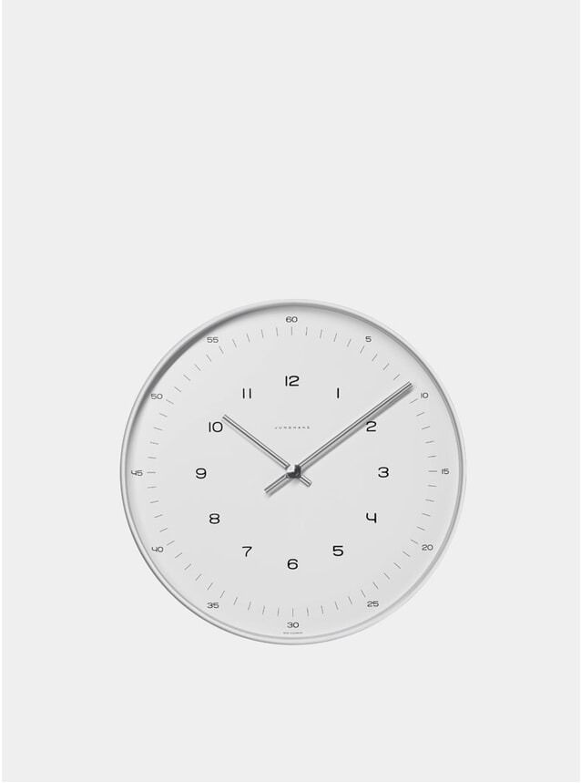 White / Stainless Steel Max Bill 6048 Quartz Wall Clock
