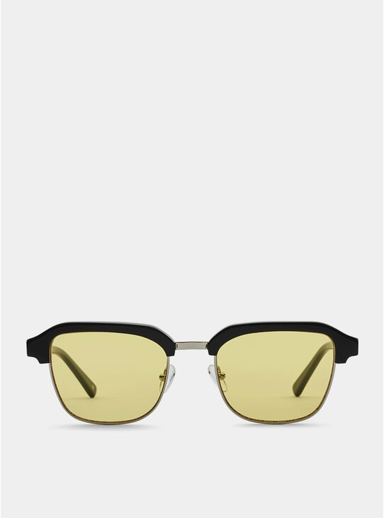 Black Metal / Yellow Continental Sunglasses