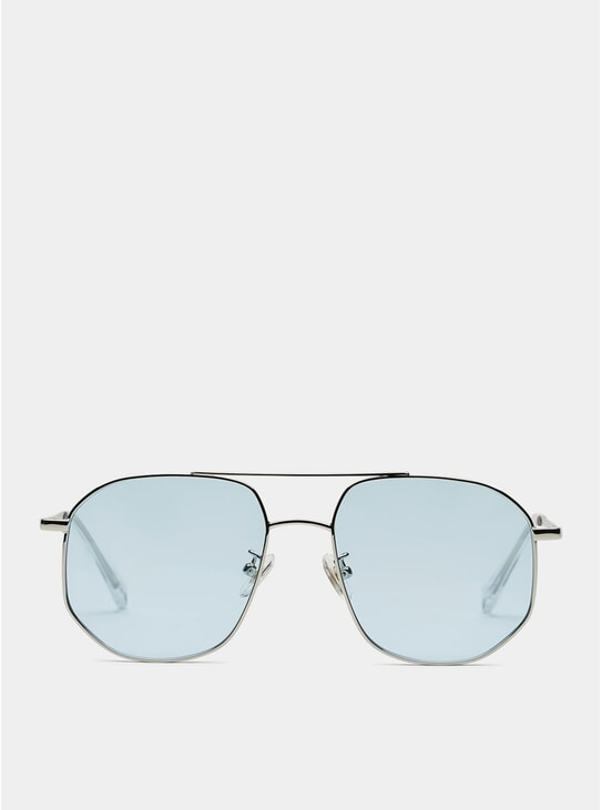 Silver / Blue The Dude Sunglasses