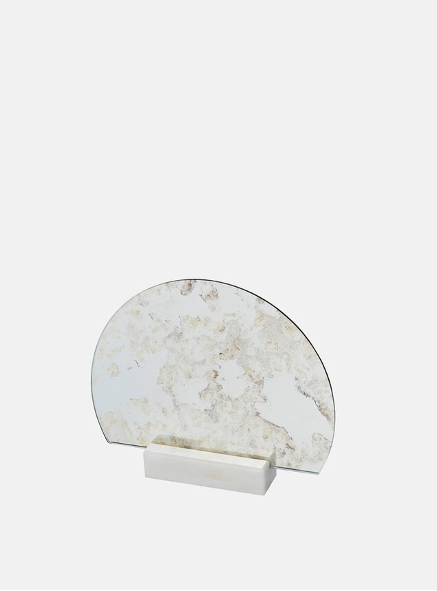 Antique Marble Half-Moon Mirror
