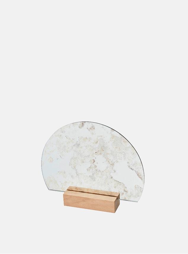 Antique Wood Half-Moon Mirror