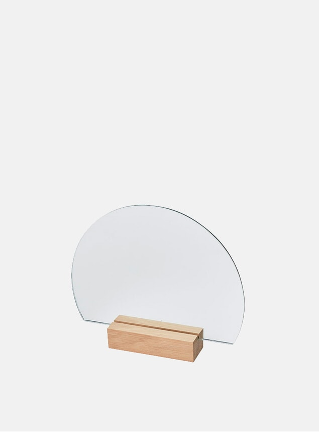 Normal Wood Half-Moon Mirror