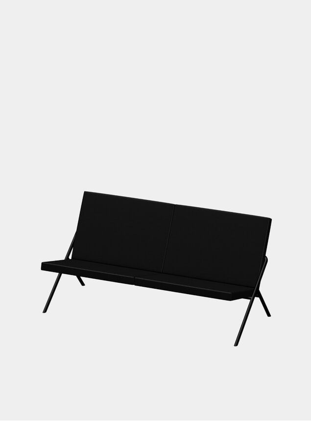 Jet Black Nappa DL2 Euclides Two Seater Sofa