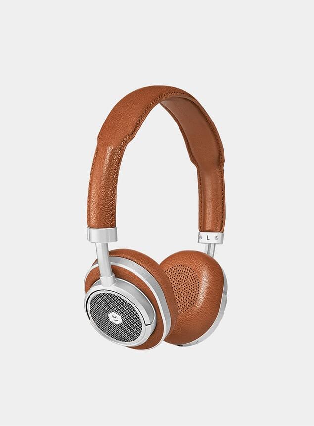 Silver Metal / Brown Leather MW50+ Headphones