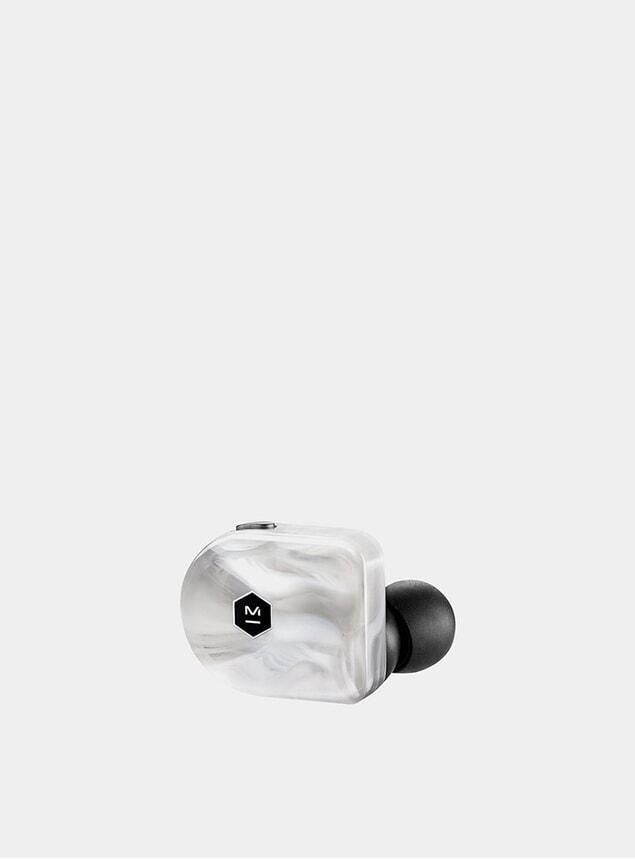 White Marble Acetate Wireless MW07 Earphones