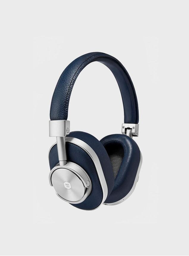 Navy Leather MW60 Wireless Headphones