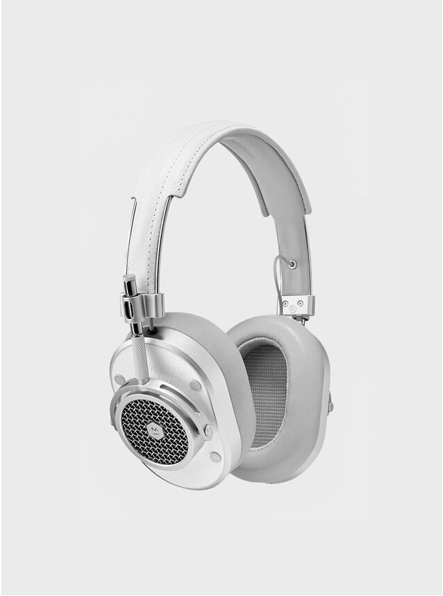Silver / White Leather MH40 Headphones